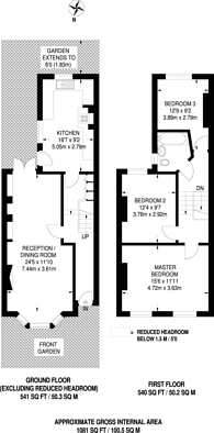 Large floorplan for Prothero Road, Fulham, SW6