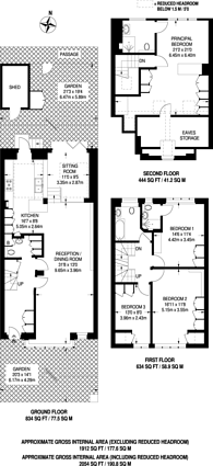 Large floorplan for Hampstead Gardens, Temple Fortune, NW11