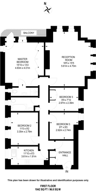Large floorplan for Hillside Court, West Hampstead, NW3