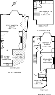 Large floorplan for Heathfield Gardens, Chiswick, W4