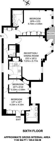 Large floorplan for Brompton Road, Knightsbridge, SW3