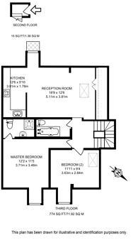 Large floorplan for Redcliffe Gardens, Earls Court, SW10