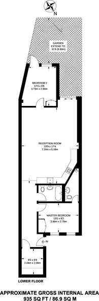 Large floorplan for Grittleton Road, Maida Hill, W9