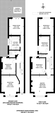 Large floorplan for Clifford Gardens, Kensal Rise, NW10