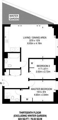 Large floorplan for Two Fifty One, London Bridge, SE1