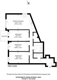 Large floorplan for Belsize Road, Swiss Cottage, NW6