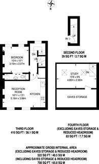 Large floorplan for Leigh Street, Bloomsbury, WC1H