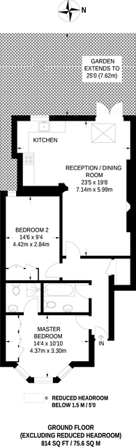 Large floorplan for Fordhook Avenue, Ealing Common, W5