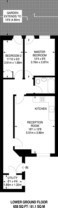 Large floorplan for Comeragh Road, Barons Court, W14
