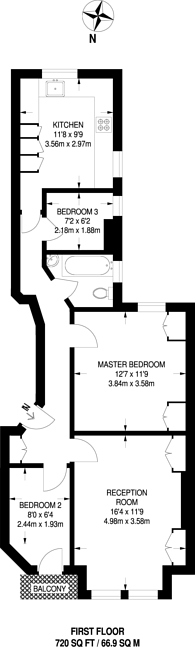 Large floorplan for Huguenot Place, Wandsworth, SW18