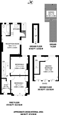 Large floorplan for Heaton Road, Tooting, CR4