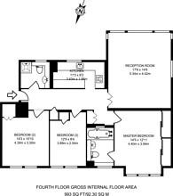 Large floorplan for Stanhope Gardens, South Kensington, SW7