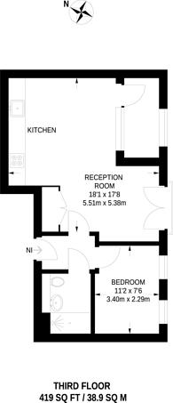 Large floorplan for Avon Court, Westferry, E14