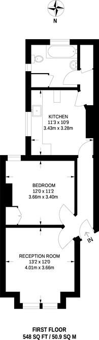Large floorplan for Treport Street, Earlsfield, SW18