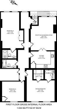 Large floorplan for Weymouth Mews, Marylebone, W1G