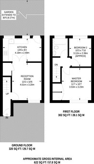 Large floorplan for Amblecote Meadows, Grove Park, SE12