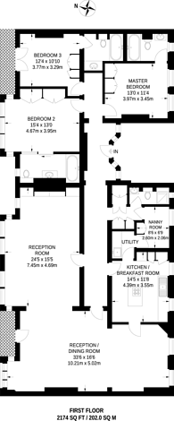 Large floorplan for Mount Street, Mayfair, W1K