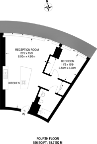 Large floorplan for Baltimore Tower, Canary Wharf, E14
