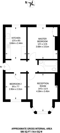 Large floorplan for Wood Vale, Dulwich, SE23