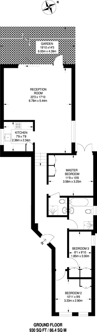 Large floorplan for Shoot Up Hill, Kilburn, NW2