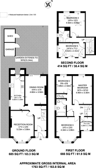Large floorplan for Blairderry Road, Streatham Hill, SW2