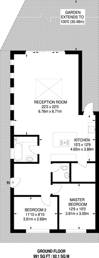 Large floorplan for Clinton Close, Knaphill, GU21