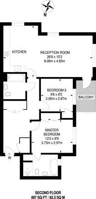 Large floorplan for Chalmers Way, St Margarets, TW1