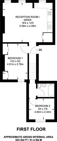 Large floorplan for Blackstock Road, Islington, N5