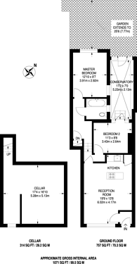 Large floorplan for East Dulwich Grove, Dulwich, SE22