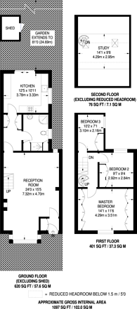 Large floorplan for Bakers Hill, Clapton, E5
