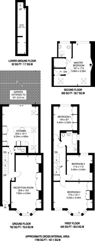 Large floorplan for Rotherwood Road, West Putney, SW15
