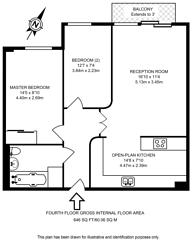 Large floorplan for Millharbour, Docklands, E14
