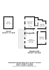 Large floorplan for Gunnersbury Avenue, Acton, W3