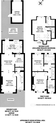 Large floorplan for Hendham Road, Tooting, SW17