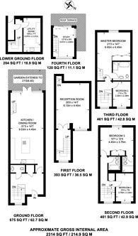 Large floorplan for Ilminster Gardens, Clapham Junction, SW11
