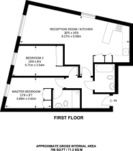 Large floorplan for Wandsworth Town, Wandsworth Town, SW11