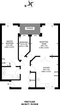 Large floorplan for Henderson Court, Woodside Park, N12