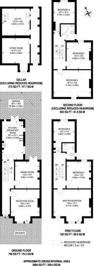 Large floorplan for Balham Park Road, Wandsworth Common, SW12
