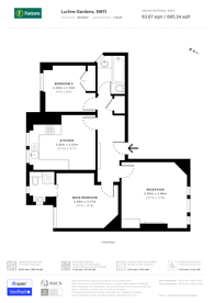 Large floorplan for Lurline Gardens, Battersea, SW11