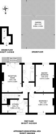 Large floorplan for Hawkesbury Road, Putney, SW15
