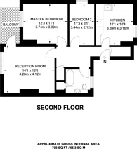 Large floorplan for Warltersville Road, Stroud Green, N19