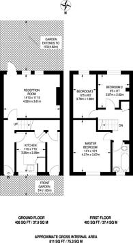 Large floorplan for Kebbell Terrace, Forest Gate, E7