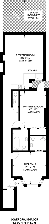 Large floorplan for Ongar Road, West Brompton, SW6