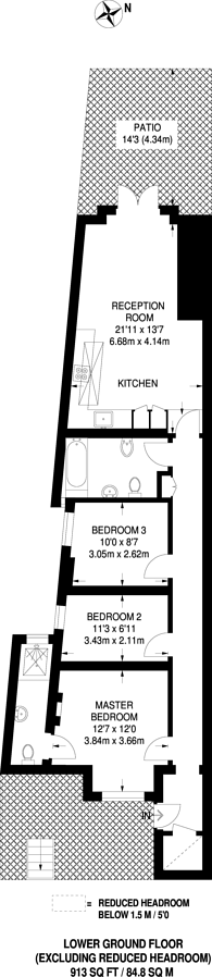 Large floorplan for Ellingham Road, Shepherd's Bush, W12
