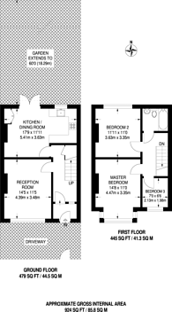 Large floorplan for Avenue Road, Streatham Vale, SW16