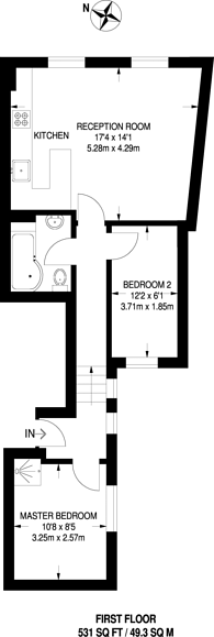 Large floorplan for Malvern Road, Maida Vale, NW6