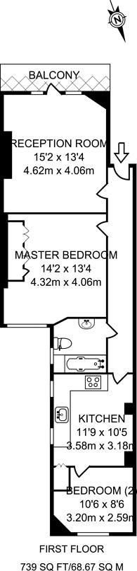 Large floorplan for Delaware Road, Maida Vale, W9