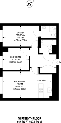 Large floorplan for Throwley Way, Sutton, SM1