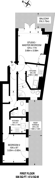 Large floorplan for Rye Lane, Peckham, SE15