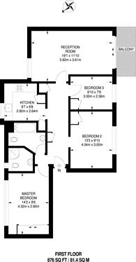 Large floorplan for Clandon Gardens, Finchley, N3